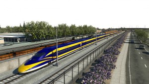 Rendering of California's high-speed rail passing through Fresno. [photo via hsr.ca.gov]