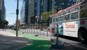 Separated bike lane on Polk Street in San Francisco. [photo via sfmta.com]