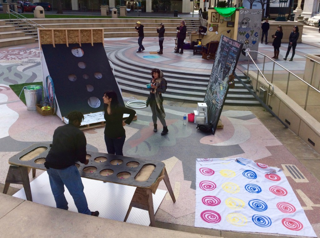The Forum featured a bunch of games, including a huge mancala board and definitely not Twister, as well as an outdoor living room designed to provide a comfortable space for visitors.